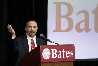 Jamie Merisotis '86, a Bates trustee and a dedicated advocate for improved access to higher education, moderated a 2011 symposium at Bates on higher education and affordability.