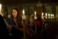 A scene from the 2011 Service of Lessons and Carols. an image from Bates' 2011 Lessons and Carols service. (Phyllis Graber Jensen/Bates College)