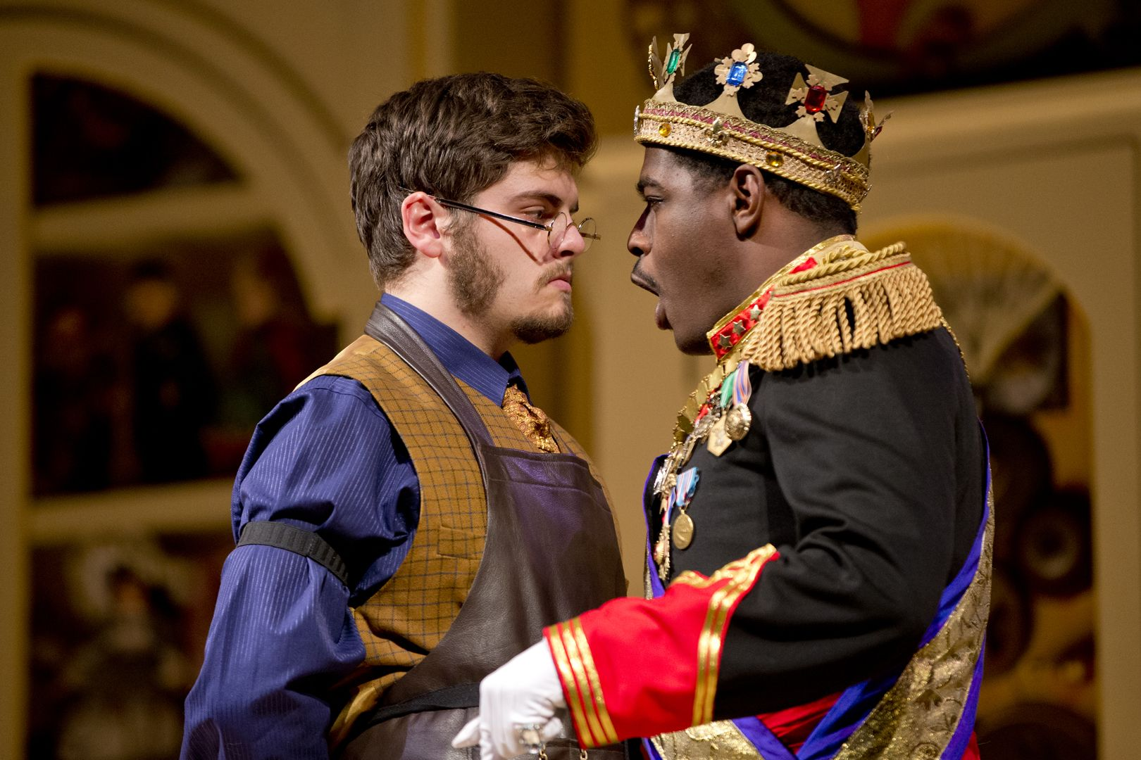 """Colin McIntire '16 of Darien, Conn., plays Drosselmeier and Brennen Malone '17 of Philadelphia plays the royal in """"Marie and the Nutcracker,"""" a new take on the old story by Dana Professor of Theater Martin Andrucki. Shows continue through Monday, Nov. 9. (Phyllis Graber Jensen/Bates College)"""