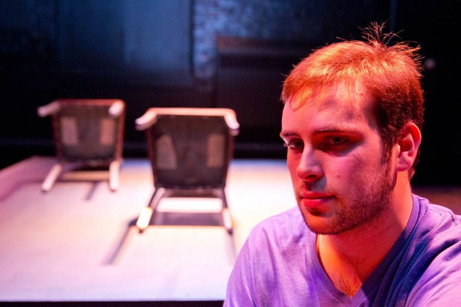 """In his stage production of Norman Corwin's broadcast play """"They Fly Through the Air With the Greatest of Ease,"""" director Sam Wheeler '17 brings radio storytelling to life. (Phyllis Graber Jensen/Bates College)"""
