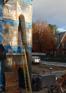 A natural-gas fired heater pumps toasty air into the first and third floors at 65 Campus Ave. on Oct. 30, 2015. (Doug Hubley/Bates College)