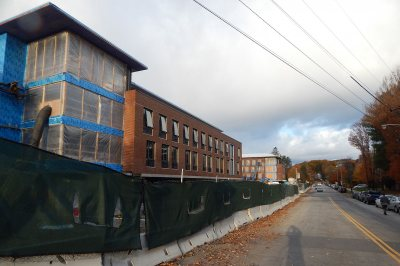 A morning image of the new student residences on Campus Avenue, taken on Oct. 30, 2015. (Doug Hubley/Bates College)