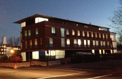 The 55 Campus Ave. residence glows at dusk on Nov. 9, 2015. (Doug Hubley/Bates College)