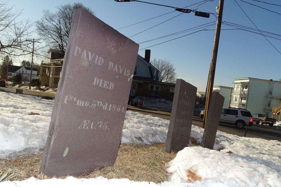 Mount David's namesake, David Davis, is buried near campus in the Davis family cemetery, on the corner of Sabattus and Franklin streets. (Jay Burns/Bates College)