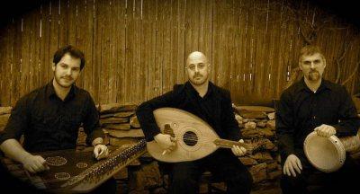 Duncan Hardy, Amos Libby, and Eric LaPerna are the Okbari Middle Eastern Ensemble.