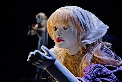"The Little Match Girl puppet in the Figures of Speech Theatre production of ""The Little Match Girl Passion."" (Phyllis Graber Jensen/Bates College)"