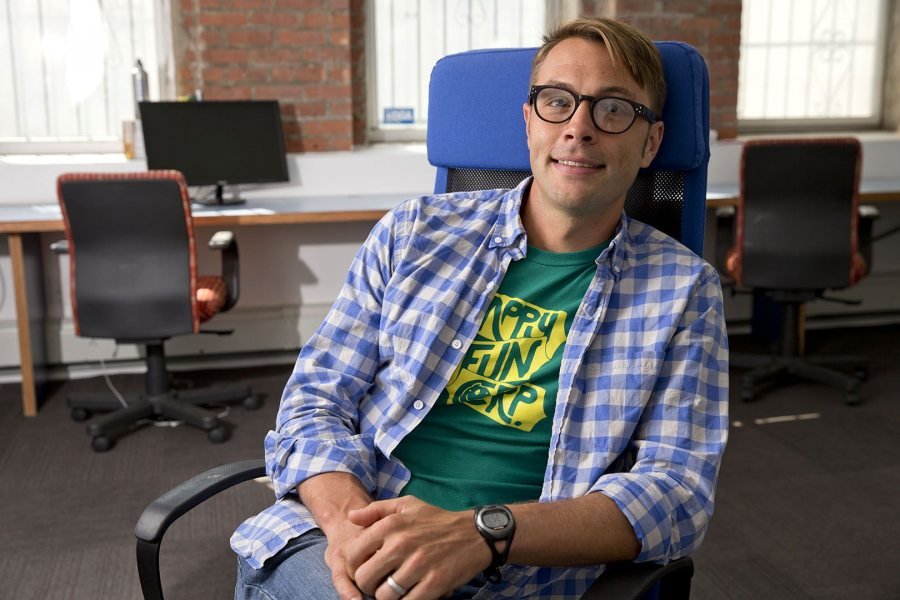 "Named by Inc. as one of the magazine's ""Five Rising Stars of America's Startup Scene,"" Ben Schippers '04 is co-founder of the Brooklyn-based software engineering firm HappyFunCorp. (Phyllis Graber Jensen)"