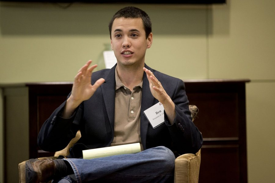 Ben Chin '07 participated in an alumni panel discussion in 2014 on navigating identity in the workplace. (Phyllis Graber Jensen/Bates College)