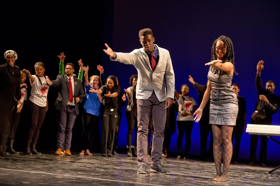 """Co-directors Olivier Brillant '17 and Annakay Wright '17 accept the audience's appreciation after the 2015 Sankofa production on Martin Luther King Jr. Day, """"Black Voice: The Life of Evelyn Ola Johnson."""" (Phyllis Graber Jensen/Bates College)"""