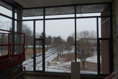 The view up Campus Avenue from the technology room on the fourth floor of 65 Campus Ave. on Jan. 12, 2016. (Doug Hubley/Bates College)