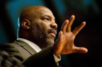 William Jelani Cobb gives the 2016 Martin Luther King Jr. Day keynote address in the Gomes Chapel at Bates on Jan. 21. (Phyllis Graber Jensen/Bates College)