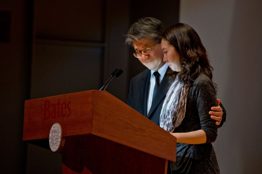 The father of James Jhun '16, Byung Hak Jhun, and James' sister, Iny Jhun, read a prayer for James during a Jan. 22 memorial service. The prayer was composed by Eunmi Jhun, mother of James and Iny and wife of Byung. (Phyllis Graber Jensen/Bates College)