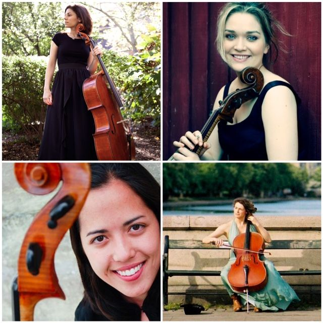 The Decoda Cello Quartet, clockwise from top left: Caitlin Sullivan, Saeunn Thorsteinsdottir, Claire Bryant, Hannah Collins.