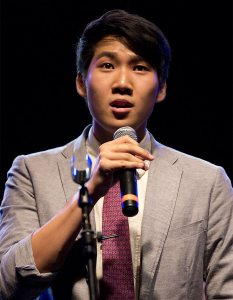 James Jhun '16 sings with the Manic Optimists in September 2013. (Michael Bradley/Bates College)