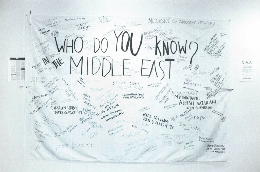 Following the start of the Persian Gulf War in January 1991, a sheet hangs, likely in Chase Hall, offering community members the chance to write the names of people they know in the Middle East. (Bates Communications)