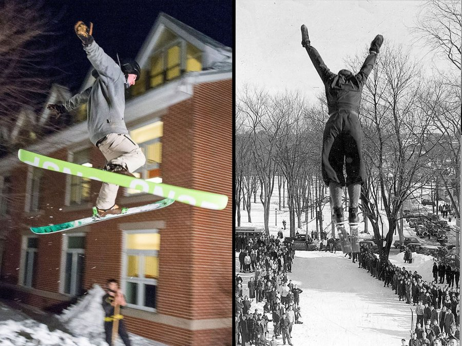 Patrick Sheils '19 (left) of Portland, Maine, and Robert Ireland '40 (right) using the same launch pad, Mount David, to show their skills. (Josh Kuckens/Bates College; Muskie Archives and Special Collections Library.)