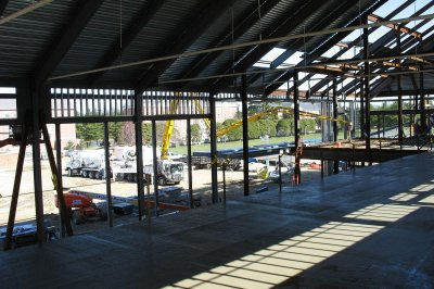 The mezzanine in the new Commons. (Doug Hubley/Bates College)
