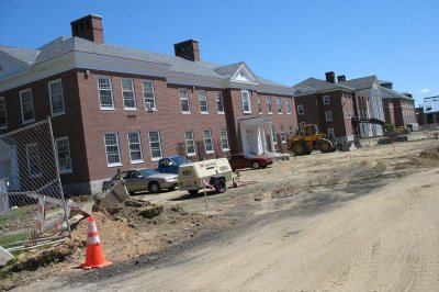 The ground stripped bare by Pettigrew and Lane halls. (Doug Hubley/Bates College)