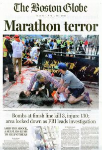 The cover of The Boston Globe on April 16, 2013, the day after the Marathon bombing.