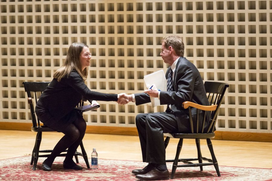 Brian McGrory '84, editor-in-chief of The Boston Globe, greets Julia Mongeau '16 of Melrose, Mass., editor of The Bates Student, during an audience Q&A after he spoke at the Olin Arts Center. McGrory was the College Key Distinguished Alumnus in Residence. (Josh Kuckens/Bates College)