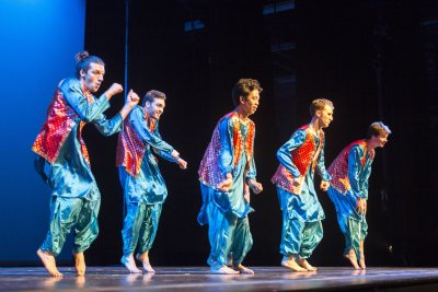 """At Schaeffer Theatre, the Bollywood Dance caps off Sangai Asia Night (this year's theme was """"Color of Asia), a popular annual showcase that follows the college's annual Arts Crawl. (Josh Kuckens/Bates College)"""
