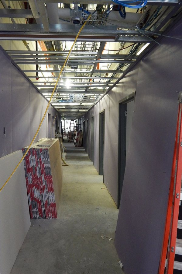 Raw drywall, no tape, no mud: A residential corridor on the second floor of 55 Campus Ave. (Doug Hubley/Bates College)