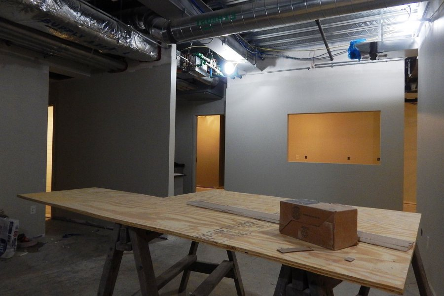 The mail and printing functions of Office Services will occupy this space in the basement of 65 Campus Ave. (Doug Hubley/Bates College)