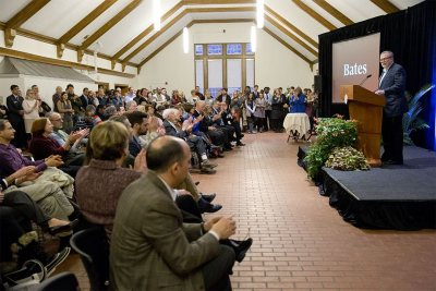 Members of the campus community attend the gift announcement celebration in Memorial Commons on Friday. The gathering included faculty, staff, students, trustees, and Alumni Council members. (Phyllis Graber Jensen/Bates College)