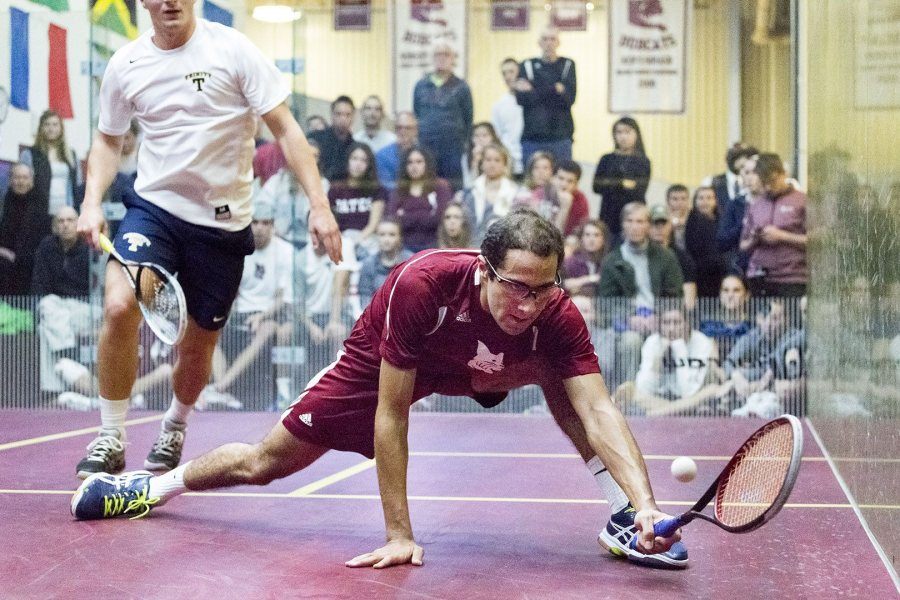 "Abdel Khalek plays mistake-free squash; he's the master of what is known as ""the basic game of squash."" (Josh Kuckens/Bates College)"