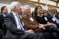 In February, seven Bates families announced gifts of $19 million to the college, led by a $10 million gift from Mike '80 and Alison Bonney '80, seated at right with Mike's parents, Wes '50 and Elaine Bonney, during the announcement in Memorial Commons. The gifts will fund six new professorships and help launch the college's Program in Digital and Computational Studies. (Phyllis Graber Jensen/Bates College)
