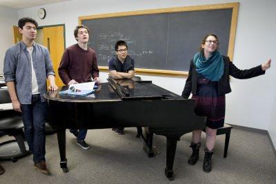 Students in Music Theory II work with Janet Bourne in an improvisational singing exercise. (Phyllis Graber Jensen/Bates College)