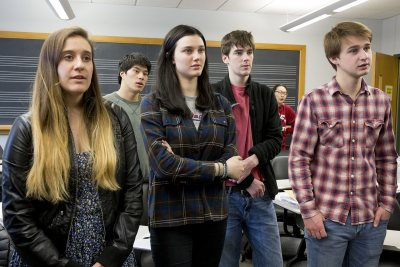 Students sing in an improvisation exercise in a Music Theory II class on March 30, 2016. (Phyllis Graber Jensen/Bates College)