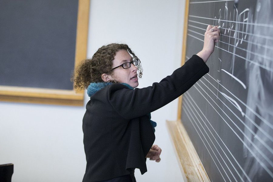 Janet Bourne, Mellon Postdoctoral Fellow in the Humanities, teaches Music Theory II in the Olin Arts Center on March 30. (Phyllis Graber Jensen/Bates College)