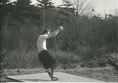 Anton Kishon '37 demonstrates his hammer-throw form, c. 1935. Kishon won the hammer throw at the 1935 NCAA Track and Field Championships.