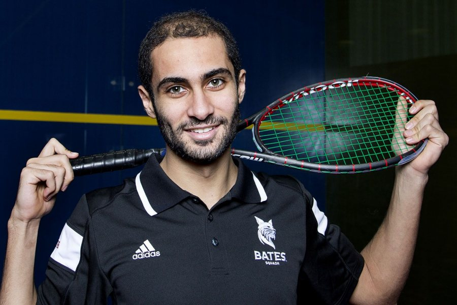 Ahmed Abdel Khalek '16 of Cairo, Bates' two-time national collegiate squash champion, poses for a portrait at the Bates Squash Center. (Josh Kuckens/Bates College)