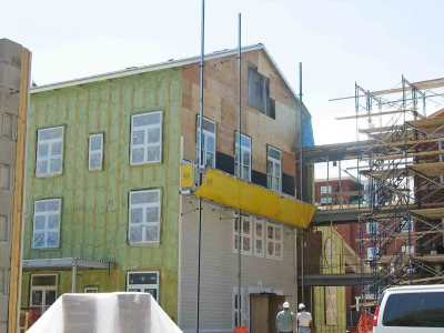 Cementitious siding on the center section of 280 College St. (Doug Hubley/Bates College)