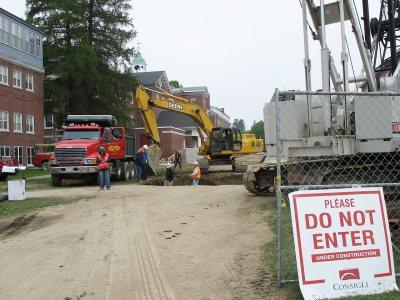 Starting a major utilities project at Pettengill. (Doug Hubley/Bates College)