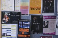 Based on this Olin Arts Center bulletin board, there is something for everyone at Bates. (Phyllis Graber Jensen/Bates College)