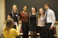 Religious studies majors Emilie Muller '16 of Concord, N.H., Esperanza Gilbert '16 of Brooklyn, Wendy Goldman '16 of Dresden, Maine, Melissa Carp '16 of Newton, Mass., and Alex Tritell '16 of Bethesda, Md., pose for a photograph before their presentations.