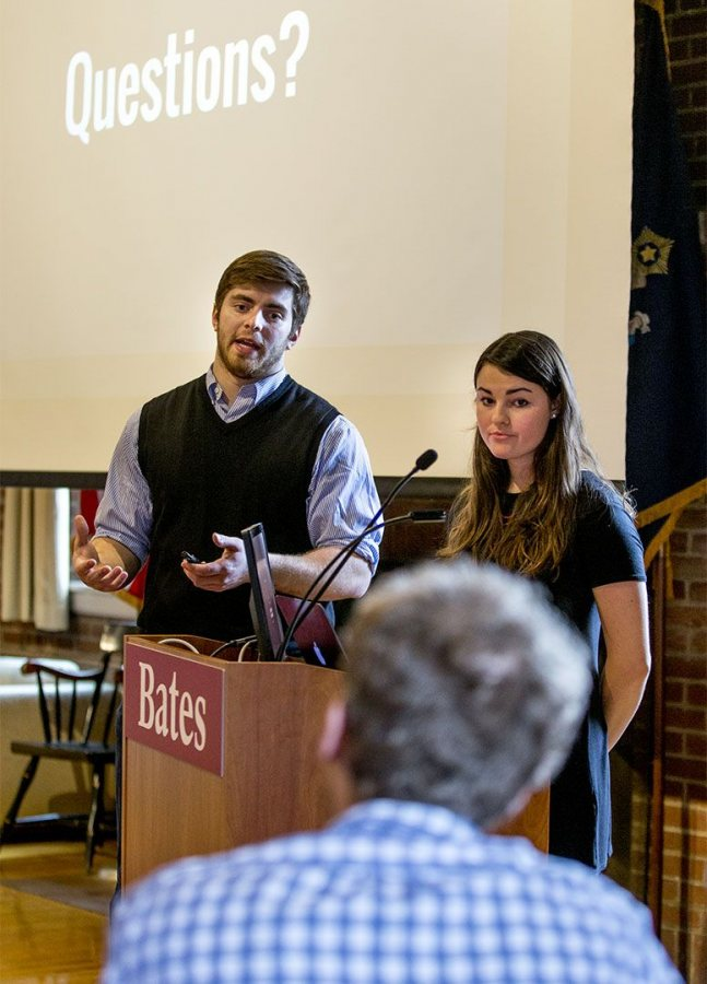 As judge Ross Brockman '11 listens, Julia Grace '17 of Chevy Chase, Md., and Sean Antonuccio '17 of Las Vegas, Nev., pitch HouseCat, a platform to connect NESCAC students looking for summer housing. (Phyllis Graber Jensen/Bates College)