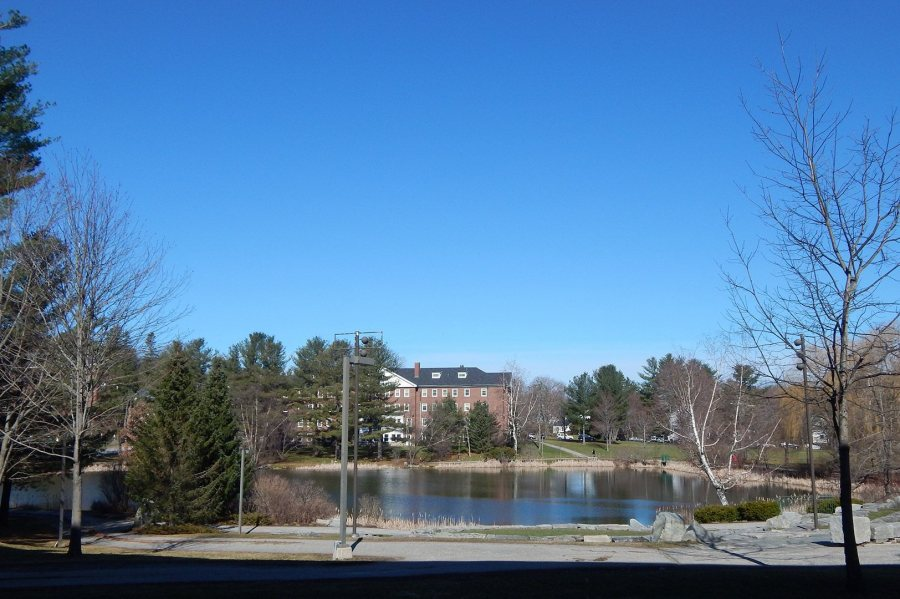 A new entrance to Wentworth Adams Hall will enable students to better enjoy this view of Lake Andrews. (Doug Hubley/Bates College)