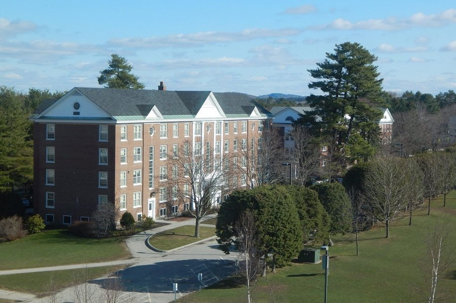 Smith Hall, viewed from the 60-foot Campus Construction Update stepladder. (Doug Hubley/Bates College)