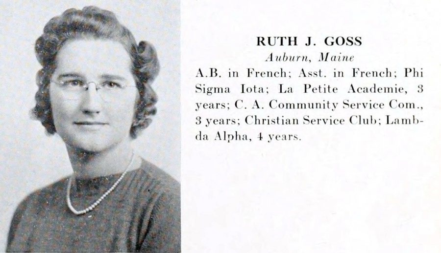 The entry for Ruth Goss Leavitt '41 in the 1941 Mirror yearbook. (Muskie Archives and Special Collections Library)