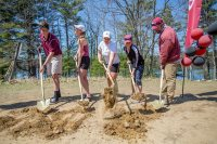 Co-captains Naso, Conover, Taylor, and Wettstein join Steenstra for a turn at the shovels.  (Photograph by Rene Roy)