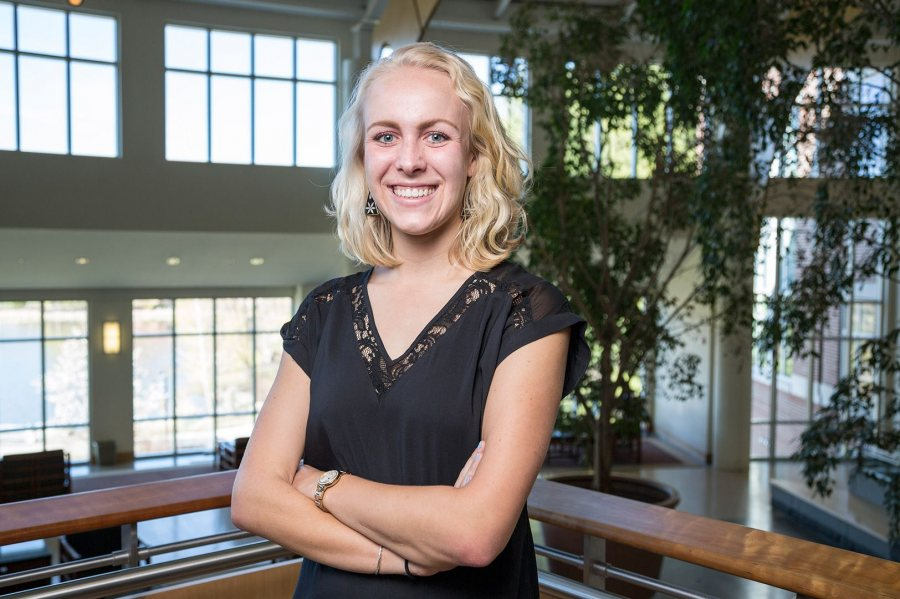 Ashley Bryant '16, an anthropology major from Medfield, Mass., was awarded a 2016–17 Fulbright English Teaching Assistantship for Brazil. (Josh Kuckens/Bates College)