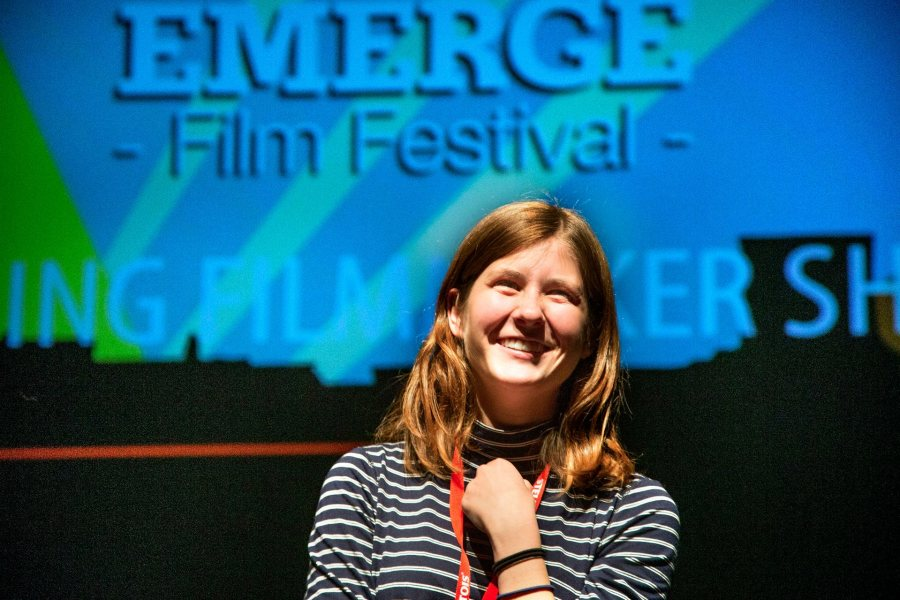 "Nicole Danser '15 answers questions about her short film ""Good Art"" after screening it in Shaefer Theatre during the Emerge Film Festival"