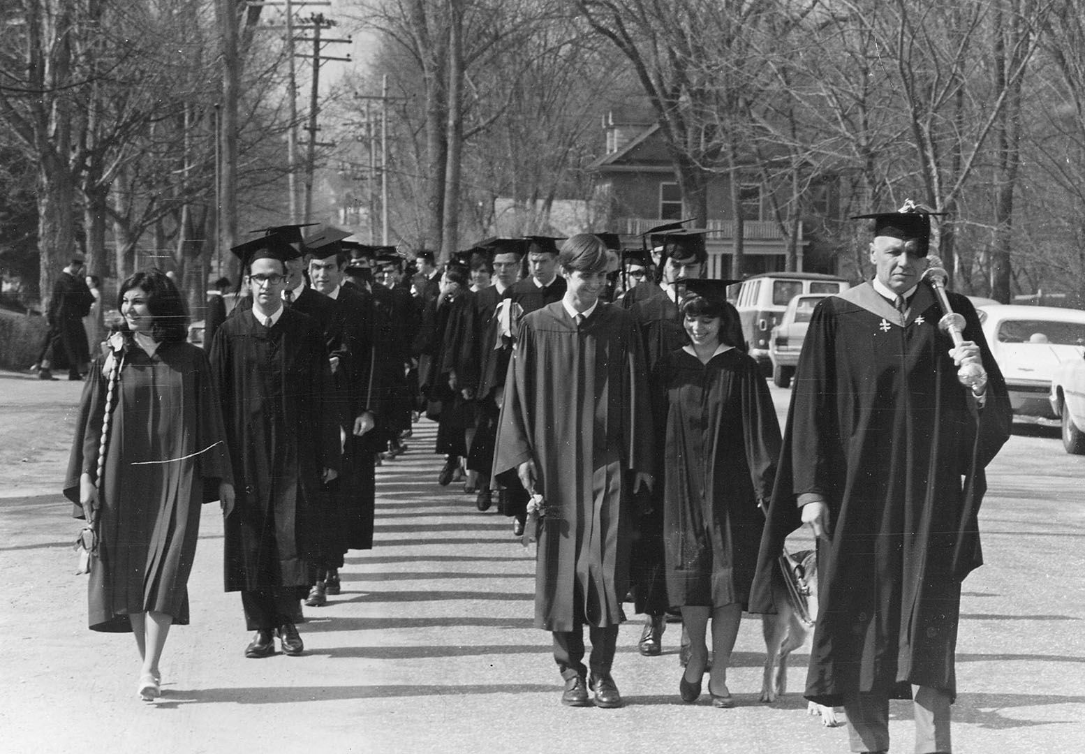 The academic procession in April 1969 for the first of two Commencements that year. The next one, for three-year grads, was on July 4. (Muskie Archives and Special Collections Library)