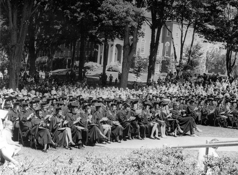 A scene from the first outdoor Bates Commencement, in 1971. (Muskie Archives and Special Collections Library)