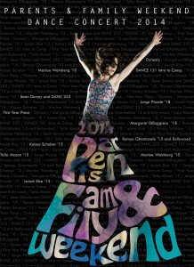 Bates dance poster for 2014 Parents & Family Weekend Dance Concert 2014.