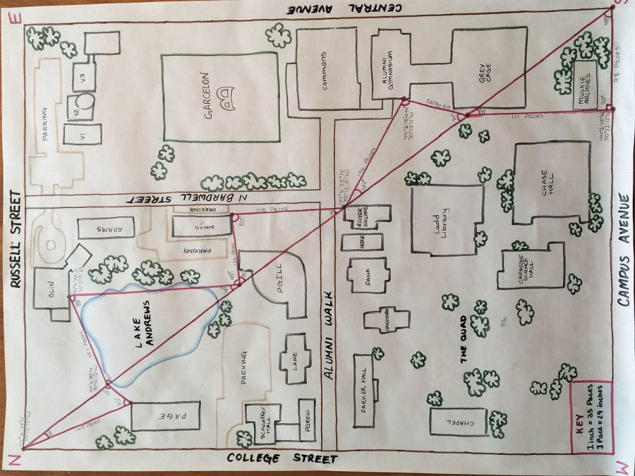 "Triangulation in action: A map of the so-called Bates block by students in the Short Term course ""Innovations in Mapping: From Paper to Pixels."""